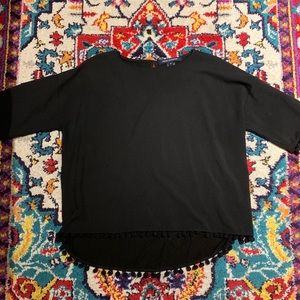 French Connection black blouse with pom pom trim